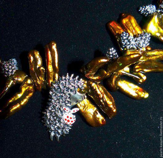 """Колье, бусы ручной работы. Ярмарка Мастеров - ручная работа. Купить Колье """"ЁЖИК В ТУМАНЕ""""- жемчуг, серебро 925, почернение. Handmade."""