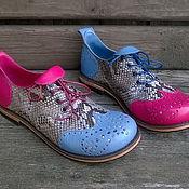 Обувь ручной работы. Ярмарка Мастеров - ручная работа Броги из кожи питона и оленя Незабудка+Пион. Handmade.