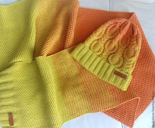 Комплекты аксессуаров ручной работы. Ярмарка Мастеров - ручная работа. Купить Желто-оранжевый комплект. Handmade. Шапка, теплая одежда