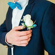 Аксессуары handmade. Livemaster - original item Tie butterfly Turquoise satin. Handmade.