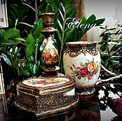 Для дома и интерьера ручной работы. Ярмарка Мастеров - ручная работа набор вазочка шкатулка подсвечник Нежные розы в золоте. Handmade.