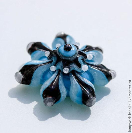 """Для украшений ручной работы. Ярмарка Мастеров - ручная работа. Купить Бусина для кольца """"Голубой орнамент"""". Handmade. Бусина для кольца"""