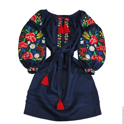 """Платья ручной работы. Ярмарка Мастеров - ручная работа. Купить Платье-вышиванка """"Буйство Красок"""". Handmade. Тёмно-синий"""