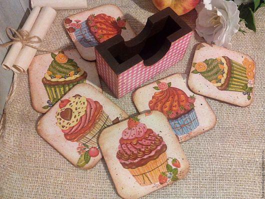 Кухня ручной работы. Ярмарка Мастеров - ручная работа. Купить Набор подставок под чашки, бокалы Капкейки. Handmade. Розовый