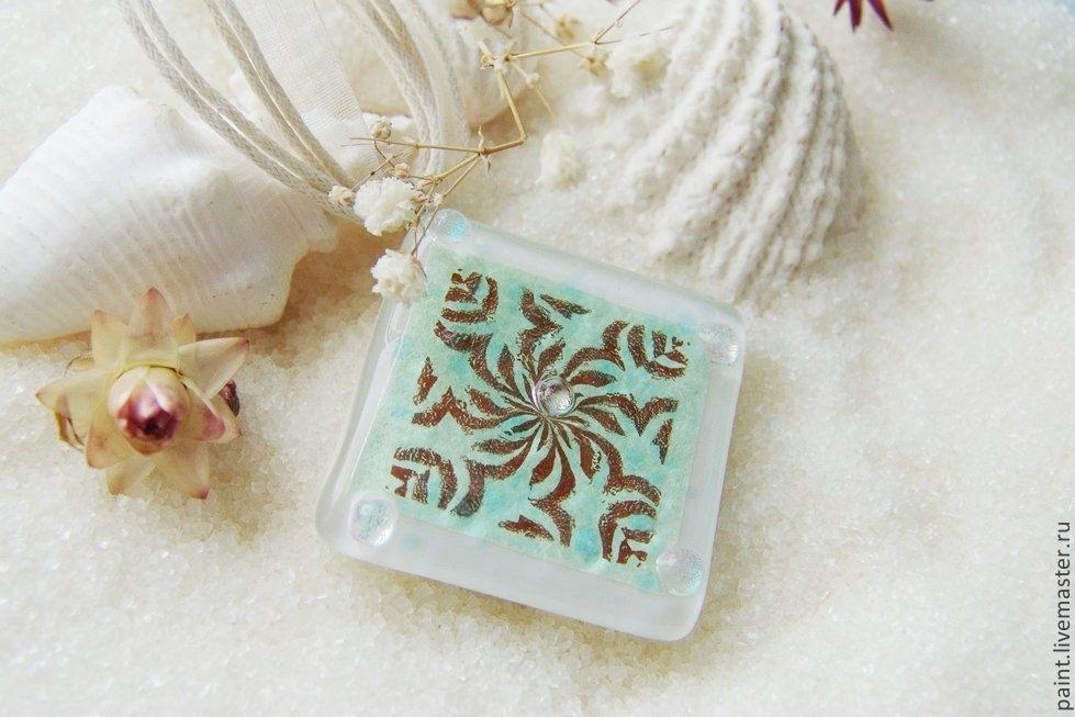 Pendant glass. Frosty patterns.Glass-fusing, Pendants, Khabarovsk, Фото №1
