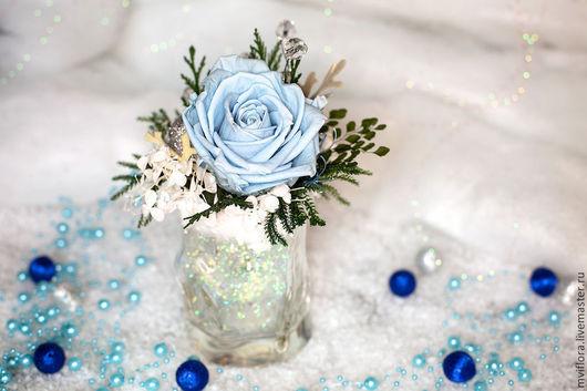 Новый год 2017 ручной работы. Ярмарка Мастеров - ручная работа. Купить Прохладная нежность. Handmade. Стабилизированные цветы, голубой
