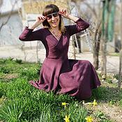 """Одежда ручной работы. Ярмарка Мастеров - ручная работа Вязаное платье   """"Тёмная сирень"""". Handmade."""