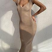 Одежда handmade. Livemaster - original item Bandage dress with short sleeves in beige color. Handmade.