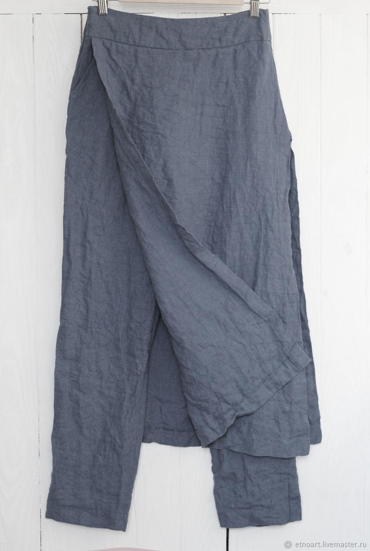 Дизайнерские брюки с юбкой из 100% льна, Брюки, Томск,  Фото №1
