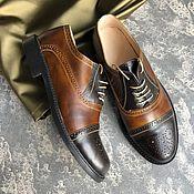 """Туфли ручной работы. Ярмарка Мастеров - ручная работа Мужские туфли """"Оксфорд"""" корич/шоколад черная  подошва. Handmade."""