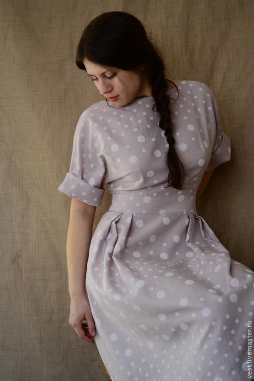 """Платья ручной работы. Ярмарка Мастеров - ручная работа. Купить Платье """"Горошки на пудровом фоне"""". Handmade. Бледно-розовый"""