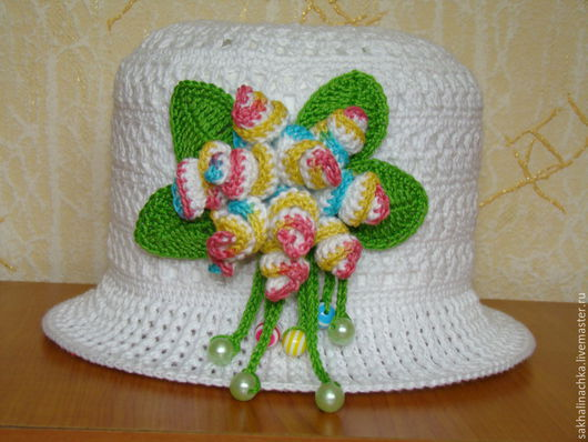 """Шапки и шарфы ручной работы. Ярмарка Мастеров - ручная работа. Купить шляпка """"Фантазия"""". Handmade. Белый, шляпка для девочки"""