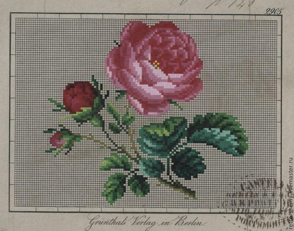 Схема вышивки крестом старинные розы