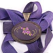 Украшения handmade. Livemaster - original item Embroidered pendant Bouton d`or. Handmade.