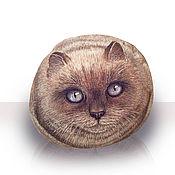 Для дома и интерьера ручной работы. Ярмарка Мастеров - ручная работа Роспись по камню гималайский котик. Handmade.