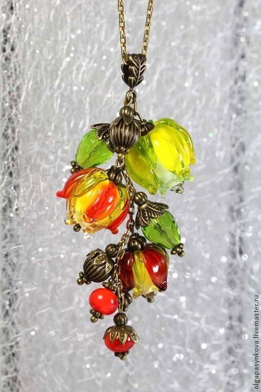 Кулоны, подвески ручной работы. Ярмарка Мастеров - ручная работа. Купить Кулон Осенние фонарики - лэмпворк, бронза, осень, с цепочкой, сваровск. Handmade.