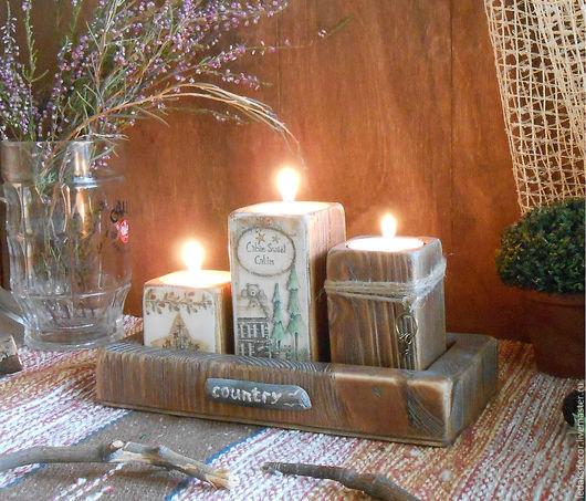 Набор деревянных подсвечников на подставке. Подсвечники для интерьера дома или дачи. Подсвечники в стиле кантри. `LedaksDecor` -для уютного дома!