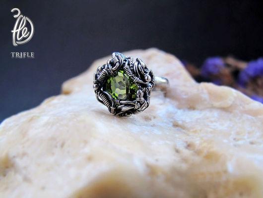 """Кольца ручной работы. Ярмарка Мастеров - ручная работа. Купить кольцо с перидотом """"Green star"""" silver. Handmade. Зеленый камень"""