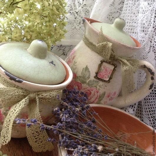 """Кухня ручной работы. Ярмарка Мастеров - ручная работа. Купить """"Jardin romantique"""" Набор глиняной посуды.. Handmade. Глина, прованс"""