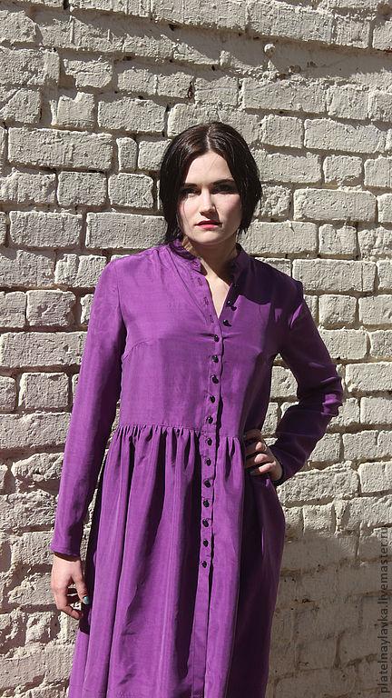 """Платья ручной работы. Ярмарка Мастеров - ручная работа. Купить Шелковое платье """"Фиолет"""". Handmade. Фиолетовый, платье на каждый день"""