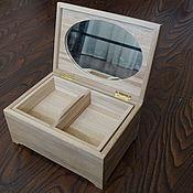 Для дома и интерьера ручной работы. Ярмарка Мастеров - ручная работа Шкатулка дубовая с зеркалом и съемным ящиком 26х18х13 см. Handmade.