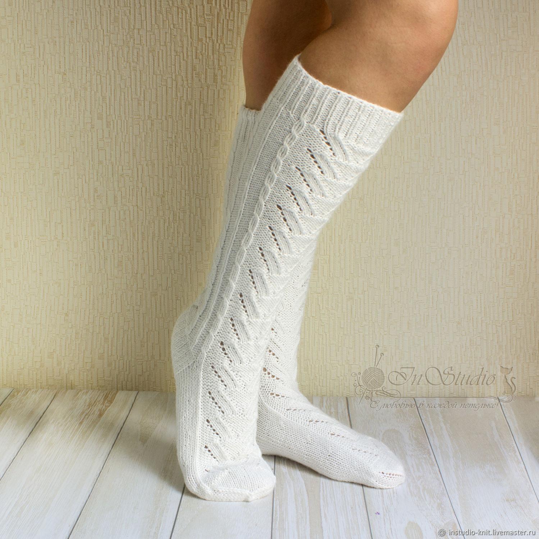 d6d62c45ca781 Ирина InStudio вязаные Носки, Чулки ручной работы. Заказать Гольфы вязаные  белые ажурные высокие носки.