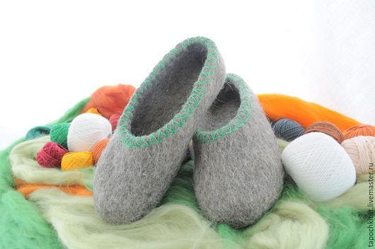 Обувь ручной работы. Ярмарка Мастеров - ручная работа. Купить Валяные тапочки обшитые. Handmade. Серый, тапочки из шерсти, подарок