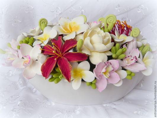 Букет с цветами из полимерной глины, букет в вазе