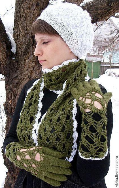 Варежки, митенки, перчатки ручной работы. Ярмарка Мастеров - ручная работа Комплект ажурный (перчатки+шарфик). Handmade.