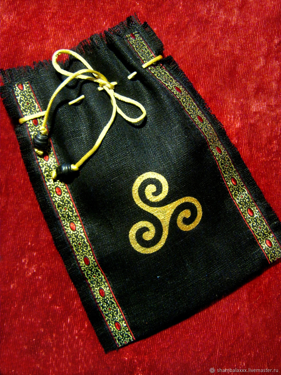 BAGS for RUNES of linen with painting or embroidery, Ritual attributes, Asha,  Фото №1
