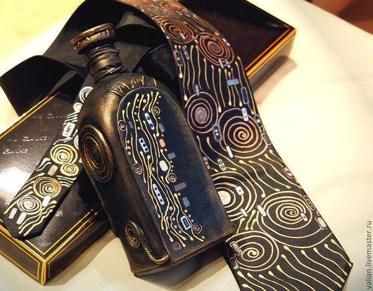 Галстуки, бабочки ручной работы. Ярмарка Мастеров - ручная работа. Купить Юбилейный  Климт, галстук и штоф.. Handmade. Климт, черный