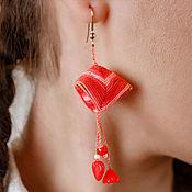 """Украшения ручной работы. Ярмарка Мастеров - ручная работа Серьги """"Пирамидки"""", красные. Handmade."""