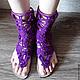 №5-1 Кружевные сандали высокие через палец `Openwork sandals`