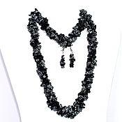 Украшения handmade. Livemaster - original item Set of jewelry made of natural snow obsidian. Handmade.