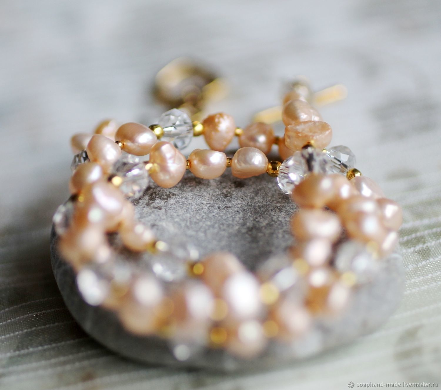 'Tenderness' necklace of peach Baroque pearls, Necklace, Moscow,  Фото №1