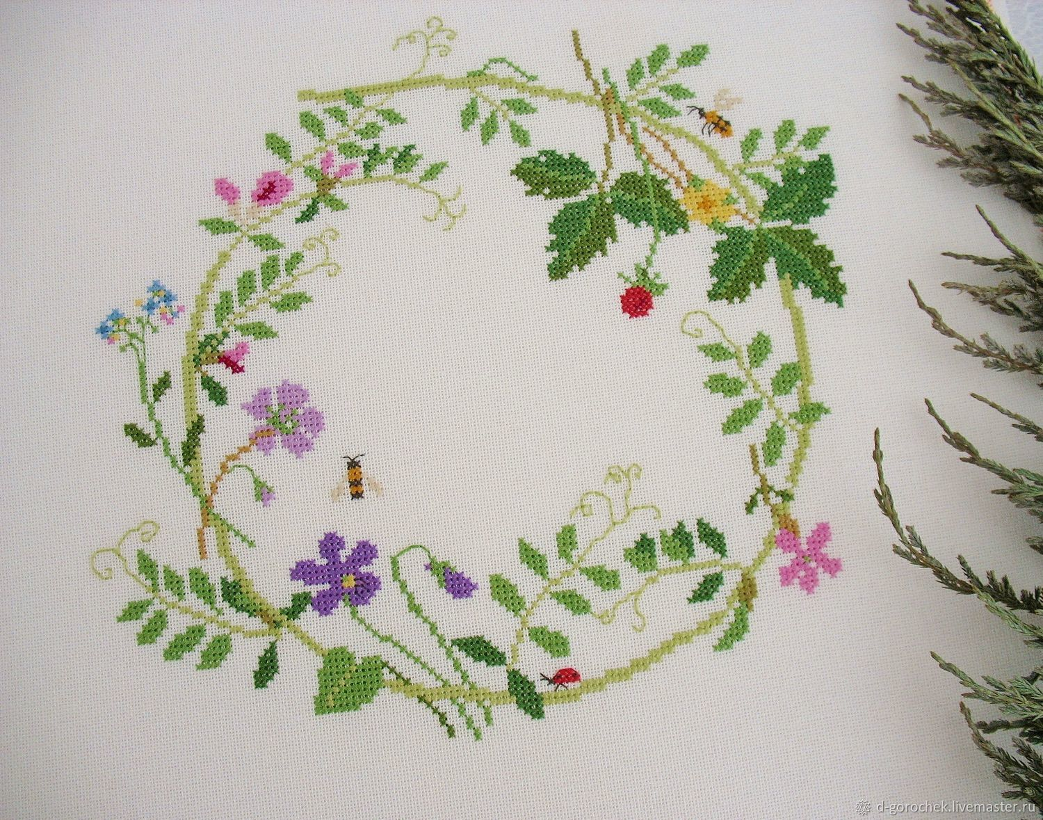 Hand embroidery cross stitch ' Spring fragrance...', Pictures, Ekaterinburg,  Фото №1