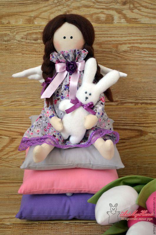 Куклы Тильды ручной работы. Ярмарка Мастеров - ручная работа. Купить Принцесса на горошине с зайкой. Handmade. Тёмно-фиолетовый, флис