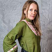 Одежда handmade. Livemaster - original item Linen tunic (forest green small roses). Handmade.
