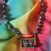 Украшения handmade. Livemaster - original item Necklace of beads and sequins Framing butterfly. Handmade.