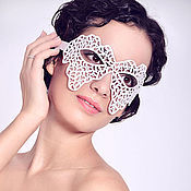 Одежда handmade. Livemaster - original item Mask leather White lace. Handmade.