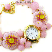 """Украшения ручной работы. Ярмарка Мастеров - ручная работа """"Японская весна""""-2 наручные часы с бусинами лэмпворк. Handmade."""