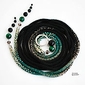 Аксессуары handmade. Livemaster - original item Thin belt rope made of beads with malachite and agate black green. Handmade.