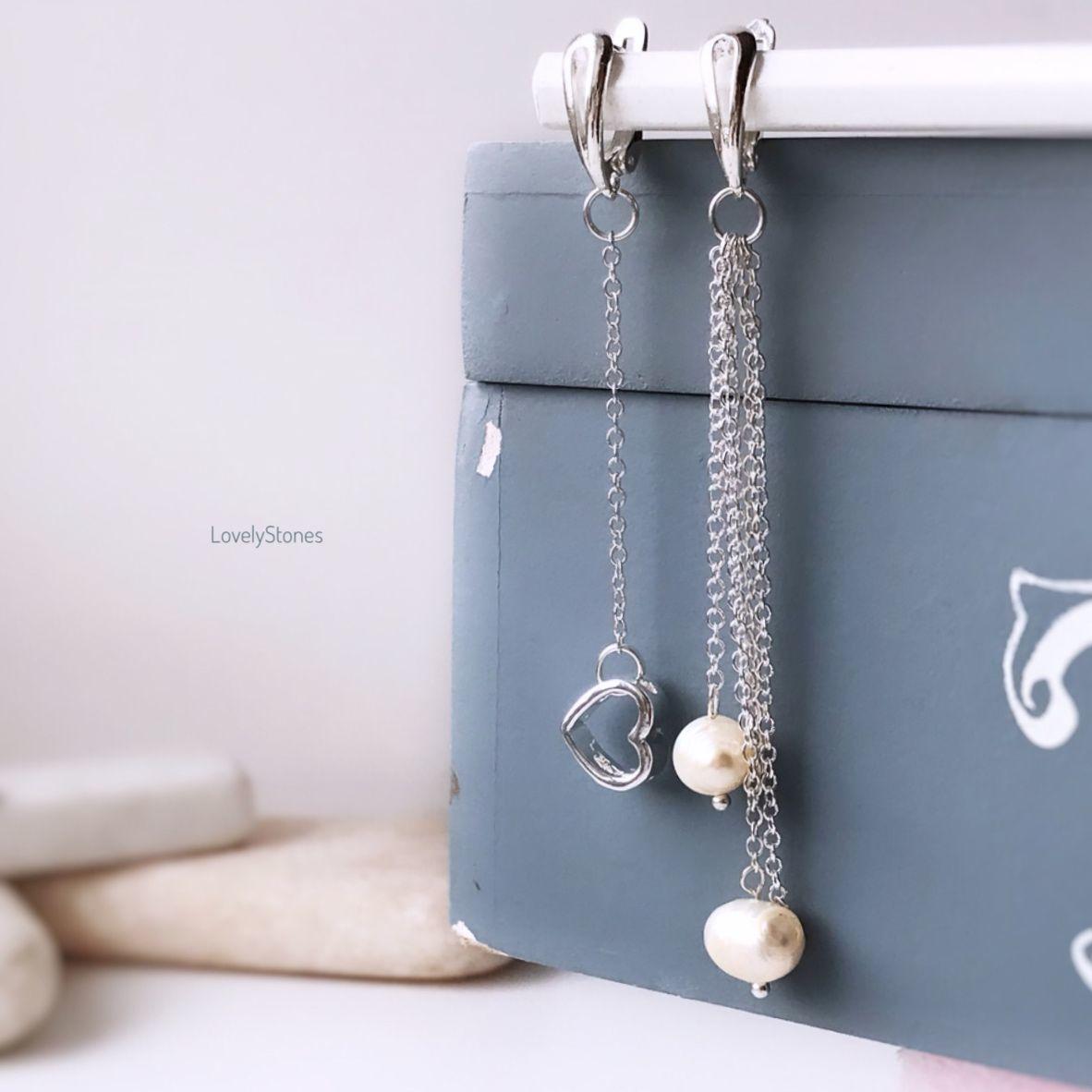 Lady's asymmetric long earrings with pearls, Earrings, Yaroslavl,  Фото №1