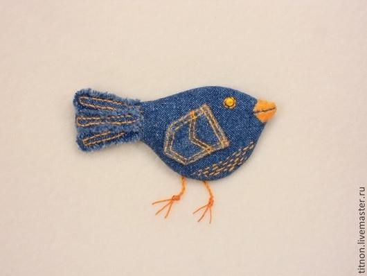 Броши ручной работы. Ярмарка Мастеров - ручная работа. Купить Брошь текстильная (джинсовая).Синяя птица Запасливая). Handmade. Синий