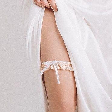 Свадебный салон ручной работы. Ярмарка Мастеров - ручная работа Тонкая подвязка бежевого оттенка, подвязка для невесты. Handmade.