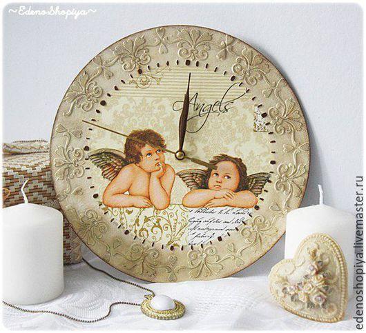 """Часы для дома ручной работы. Ярмарка Мастеров - ручная работа. Купить Винтажные часы """"На ангельских устах.."""". Handmade."""