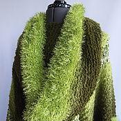 Одежда ручной работы. Ярмарка Мастеров - ручная работа Пончо  вязаное крючком  Осенняя зелень трава листва. Handmade.