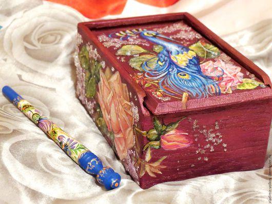 Шкатулки ручной работы. Ярмарка Мастеров - ручная работа. Купить Расписная авторская  деревянная шкатулка для украшений на заказ. Handmade.