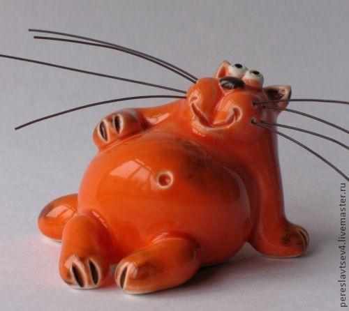 Миниатюра ручной работы. Ярмарка Мастеров - ручная работа. Купить Кот. Handmade. Керамика, глина, цветные глазури