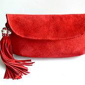 Сумки и аксессуары handmade. Livemaster - original item Red suede clutch bag with a brush on the chain. Handmade.